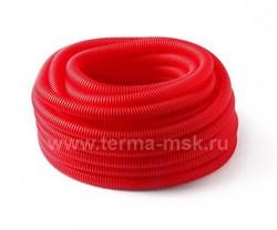 Кожух гофрированный защитный 25 мм красный (бухта 50 м) - фото 12058