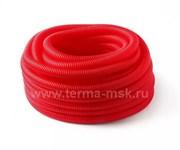 Кожух гофрированный защитный 25 мм красный (бухта 50 м)