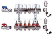 Коллекторная группа с расходомерами и кранами 5 выходов 1 х 3/4 х 5 EUROS