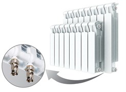 Радиатор биметаллический Rifar Monolit Ventil 500, 12 секций с нижним правым подключением