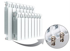 Радиатор биметаллический Rifar Monolit Ventil 500, 13 секций с нижним левым подключением