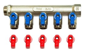 Коллектор с шаровыми кранами TIM 3/4х1/2 - 5 выходов MV-3/4-N-5