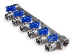 Коллектор с шаровыми кранами TIM 3/4х1/2 - 6 выходов MV-3/4-N-6